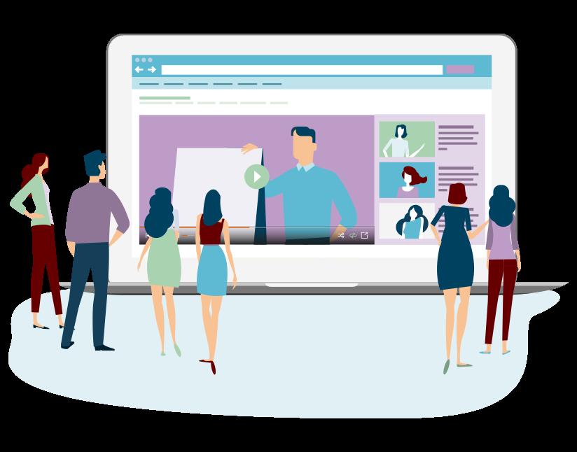 Image représentant des salariés regardant un programme en e-learning
