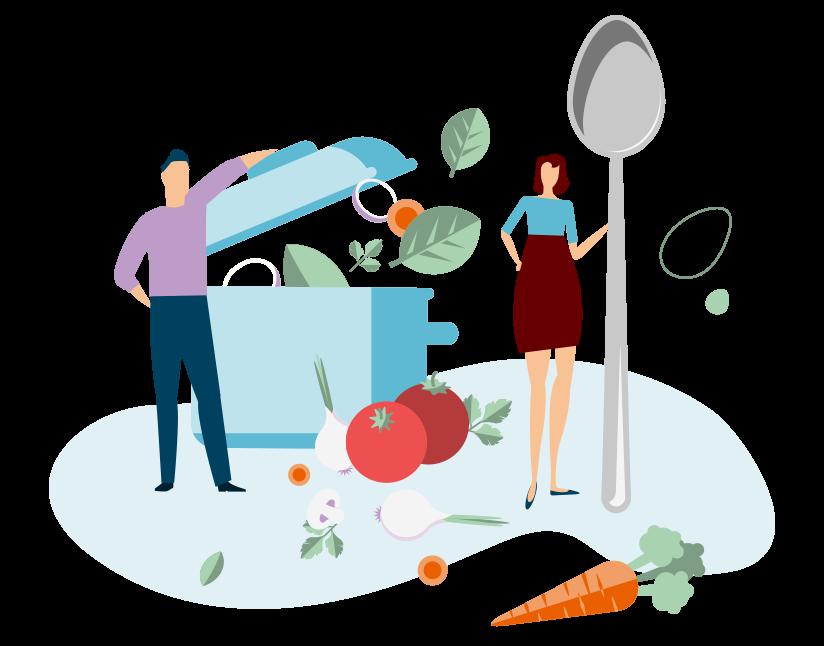 Image représentant un homme, une femme et un environnement culinaire