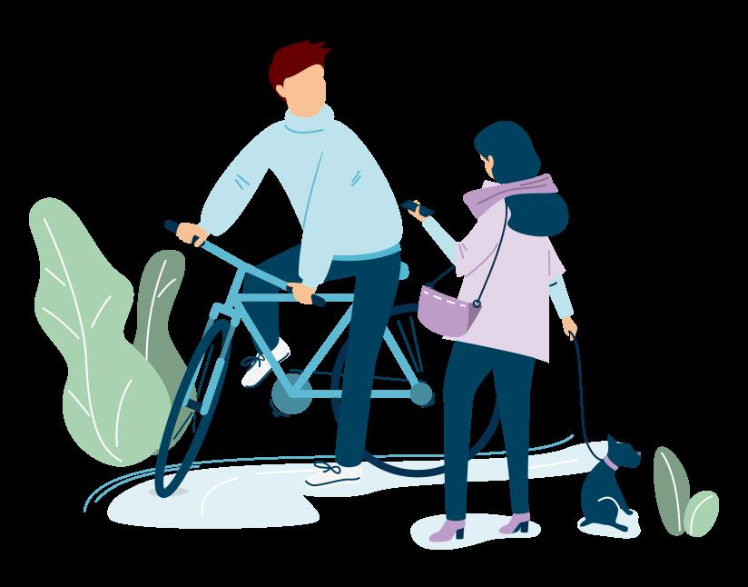Image représentant un cycliste échangeant avec une femme promenant son chien