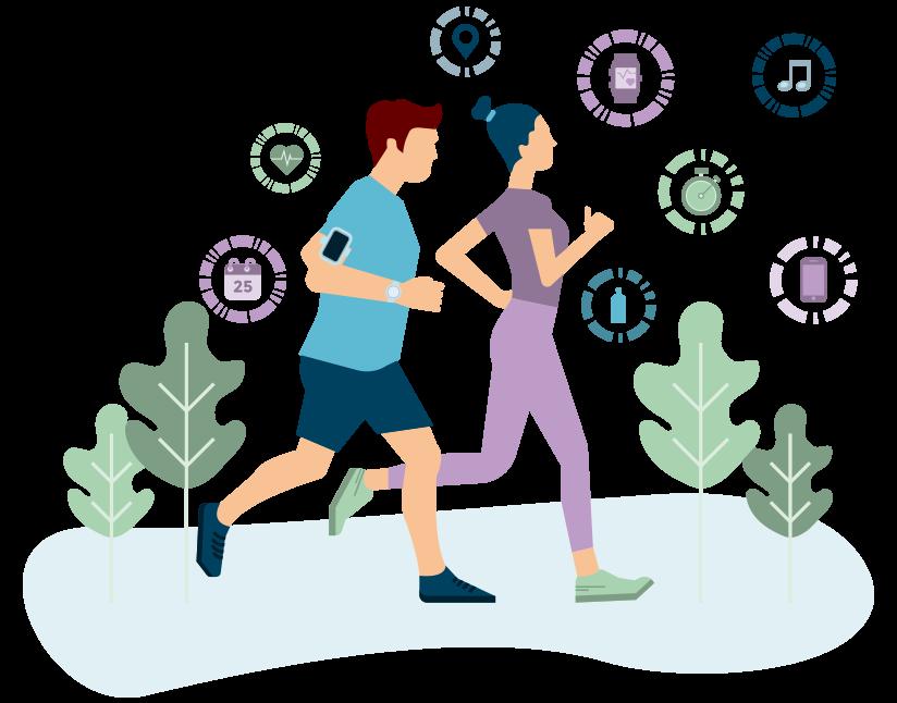 Image représentant un homme et une femme faisant un jogging