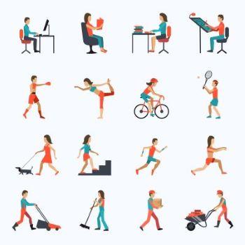 16 dessins de situations d'homme ou femme au travail ou faisant de l'activité physiquel'