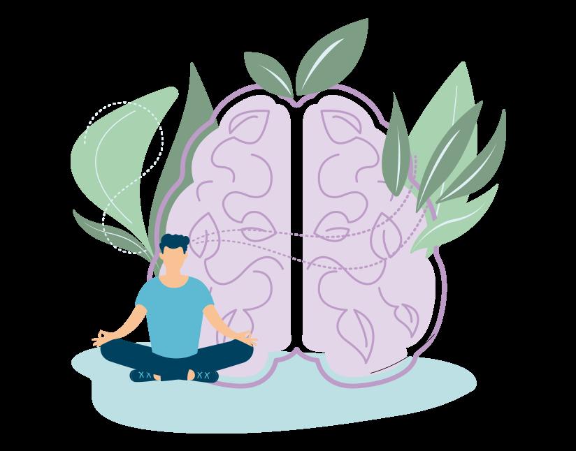 Image représentant une situation de gestion du stress : homme zen et cerveau reposé