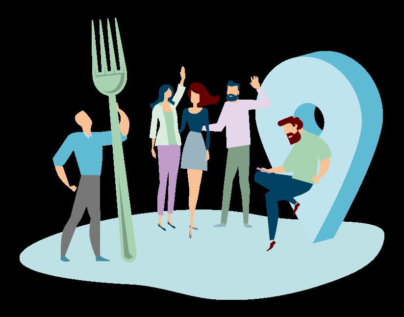 Image représentant des salariés soucieux de leur alimentation et un salarié faisant son bilan