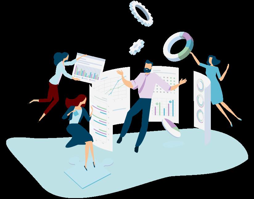 Image représentant des salariés face à des graphiques de bilans et baromètres