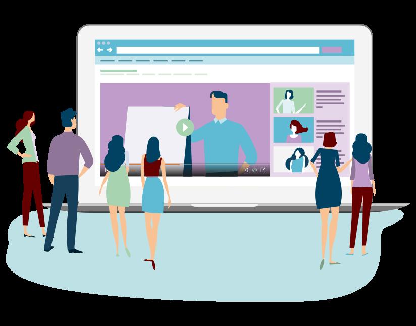 Image représentant des salariés en situation de e-learning