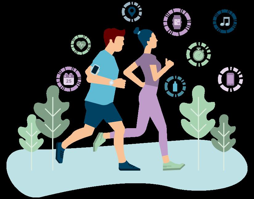 Image représentant un homme et une femme en train de courir