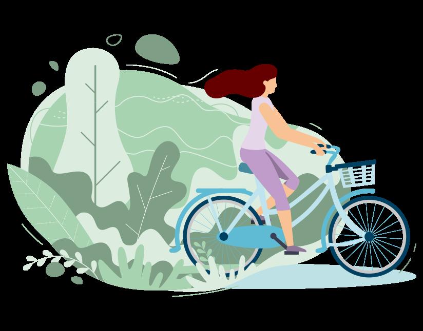 Image représentant une femme faisant du vélo dans la nature