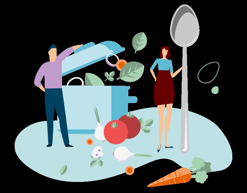 Image représentant des salariés s'intéressant à leur alimentation