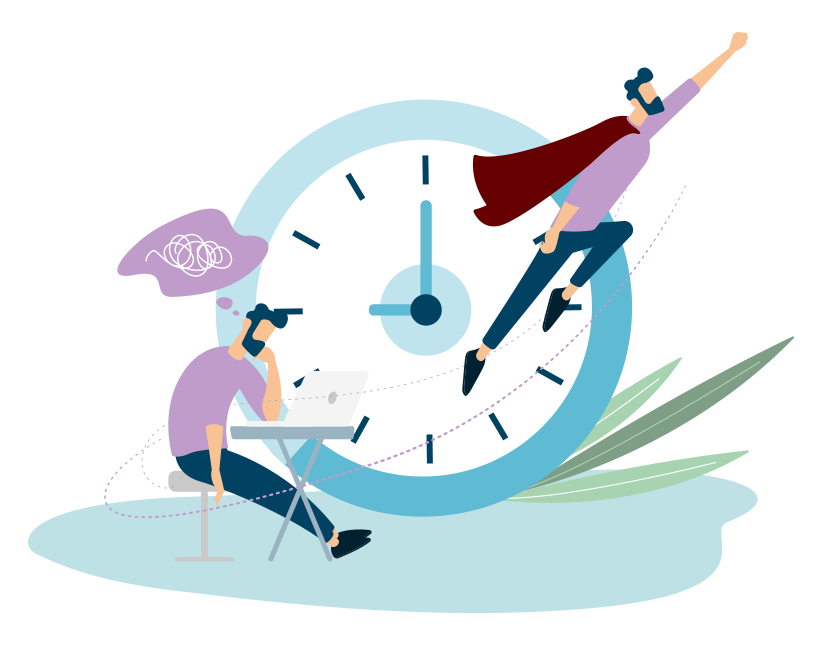 Dessin représentant un salarié apprenant en e-learning à gérer son sommeil pour être en forme