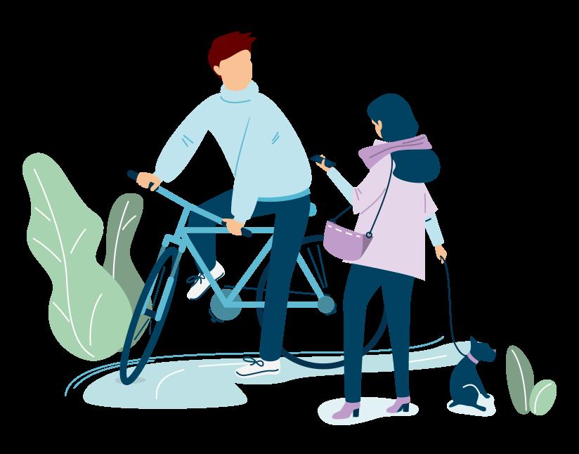 Image représentant un homme faisant du vélo et une femme promenant son chien