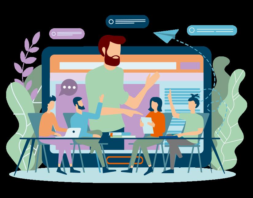 Image représentant des salariés en situation de formation mixte, avec atelier présentiel et e-learning