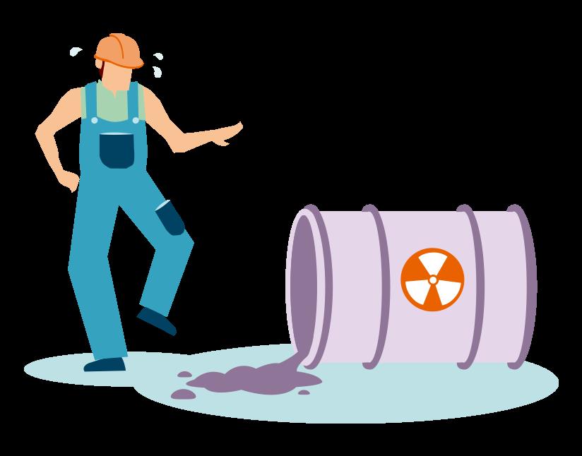 Image représentant un salarié face à un risque chimique : bidon renversé avec liquide dangereux